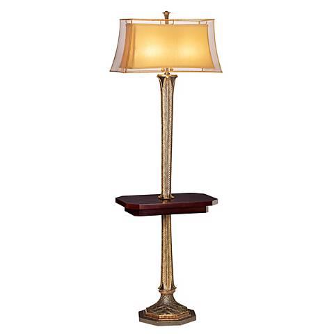 Kathy Ireland Slender Leaves Tray Table Floor Lamp