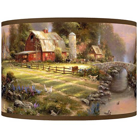 Thomas Kinkade Sunset at Riverbend Farm Shade 12x12x8.5