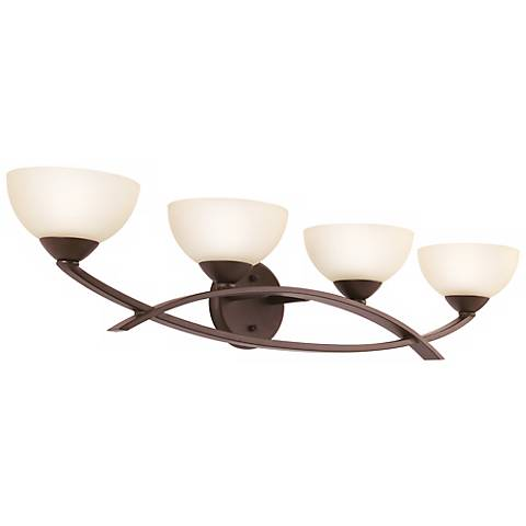 "Olde Bronze Finish Arched 4-Light 33"" Wide Bath Light"