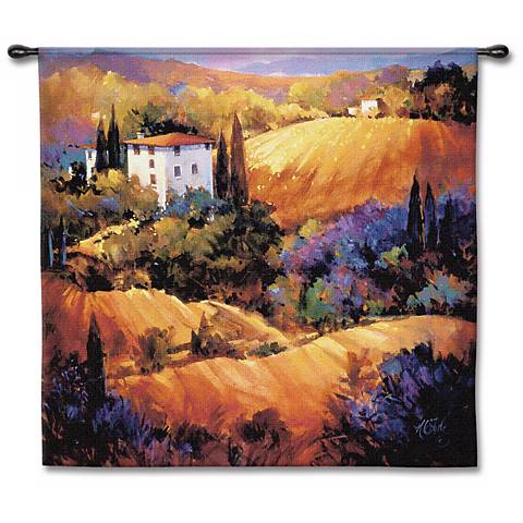 "Villa on the Hillside 53"" Square Wall Tapestry"