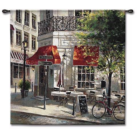 "Sidewalk Cafe 53"" Square Wall Tapestry"