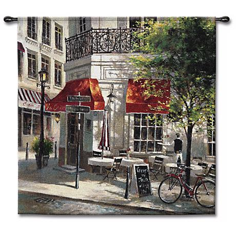 """Sidewalk Cafe 53"""" Square Wall Tapestry"""