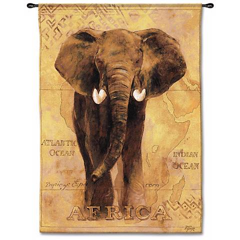 "African Elephant 53"" High Wall Tapestry"