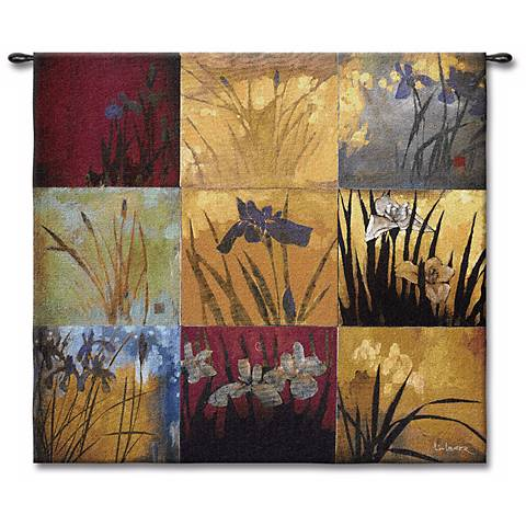 """Patchwork Iris 53"""" Square Wall Tapestry"""