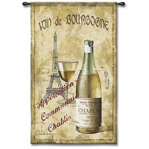 "Vin de Bourgogne 53"" High Wall Tapestry"