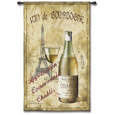 """Vin de Bourgogne 53"""" High Wall Tapestry"""