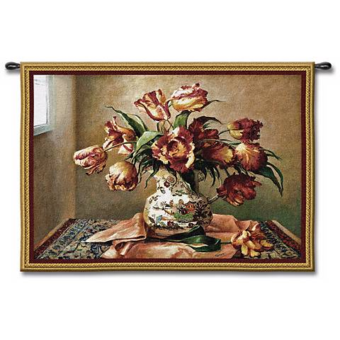 "Tulips Still Life 53"" Wide Wall Tapestry"