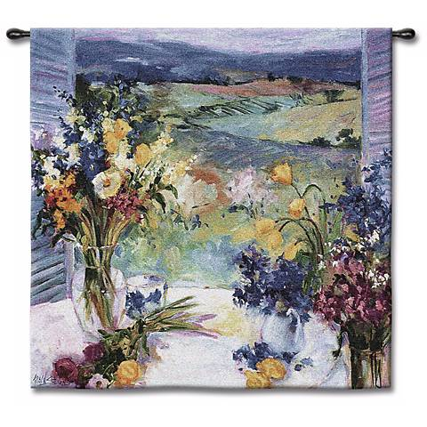 "Tuscan Wildflowers Small 35"" Square Wall Tapestry"
