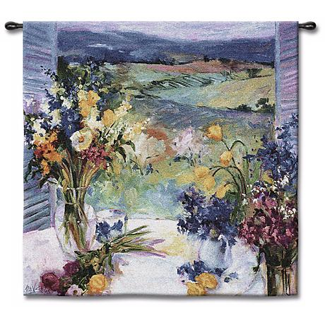 """Tuscan Wildflowers Small 35"""" Square Wall Tapestry"""