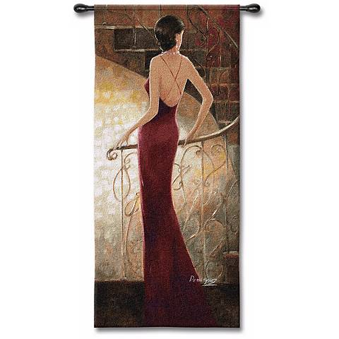 "Lady in Red 53"" High Wall Tapestry"