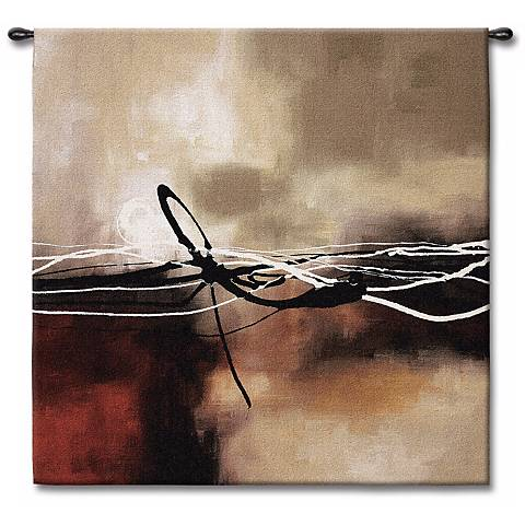 """Dreams in Claret and Black Small II 35"""" Square Wall Tapestry"""