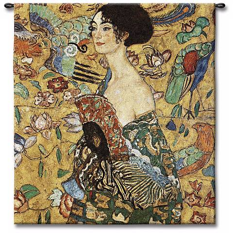"""La Femme Eventail 52"""" High Wall Tapestry"""