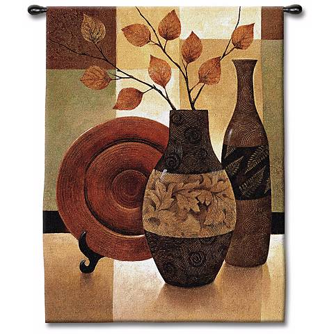 "Vessels and Patchwork 53"" High Wall Tapestry"