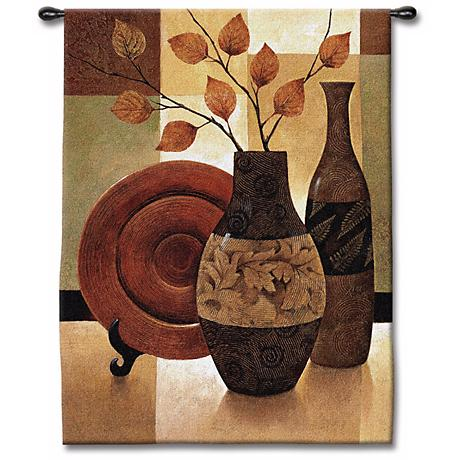 """Vessels and Patchwork 53"""" High Wall Tapestry"""