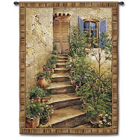 """Steps to the Villa Large  75"""" High Wall Tapestry"""