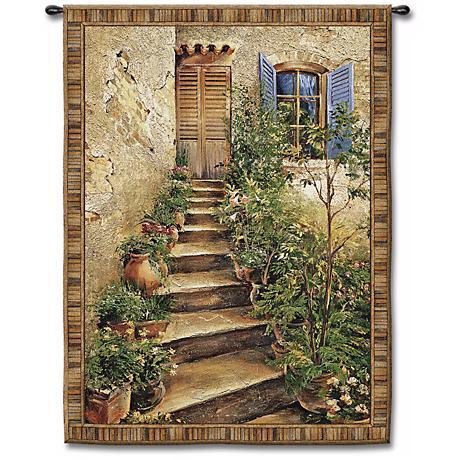 "Steps to the Villa Medium 53"" High Wall Tapestry"