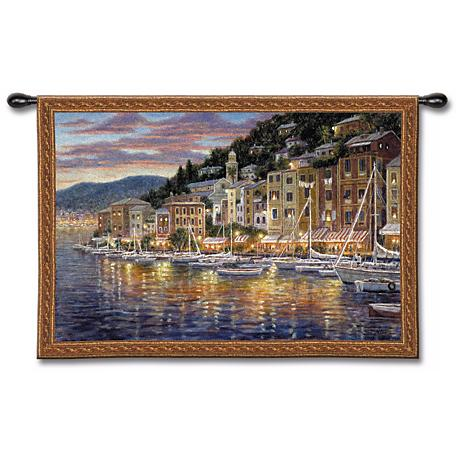 """Fishing Village Harbor 52"""" Wide Wall Tapestry"""