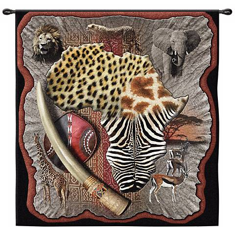 "Africa 53"" Wide Wall Hanging Tapestry"