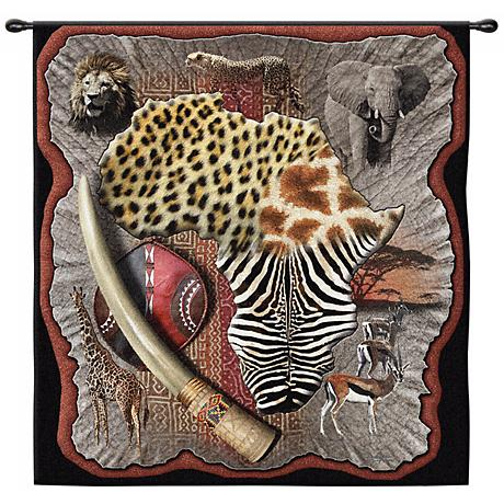 """Africa 53"""" Wide Wall Hanging Tapestry"""