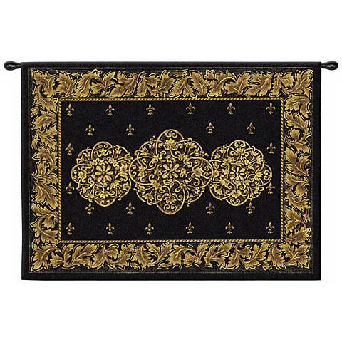 "Black Medallion 53"" Wide Wall Hanging Tapestry"