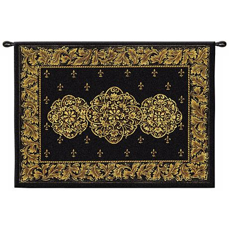 """Black Medallion 53"""" Wide Wall Hanging Tapestry"""