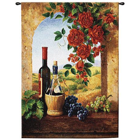 """Tuscan Patio View 53"""" High Wall Hanging Tapestry"""