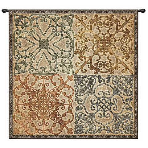 "Wrought Iron Elegance 53"" Wall Hanging Tapestry"