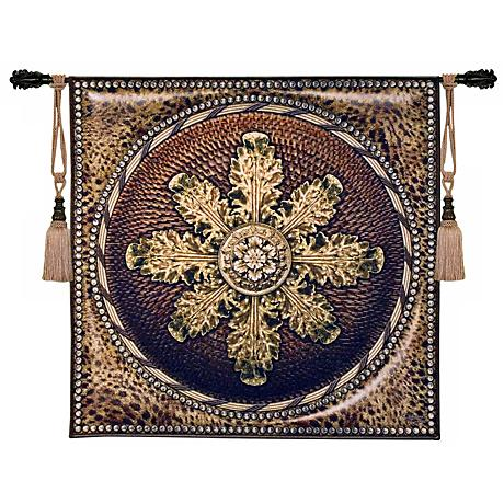 """Leopard with Rosette 45"""" Square Wall Hanging Tapestry"""