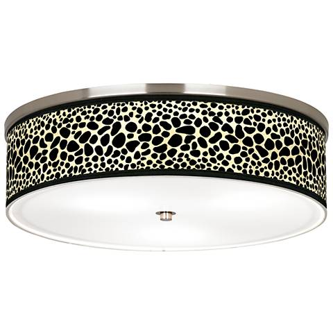 "Leopard Giclee Nickel 20 1/4"" Wide Ceiling Light"