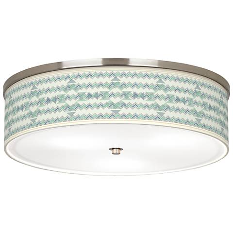 "Triangular Stitch Giclee Nickel 20 1/4"" Wide Ceiling Light"