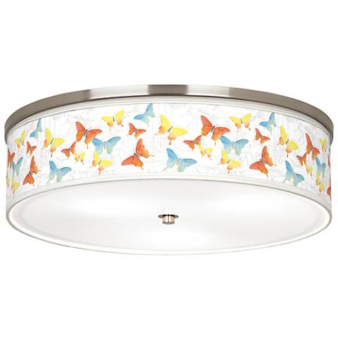 "Pastel Butterflies Giclee Nickel 20 1/4"" Wide Ceiling Light"