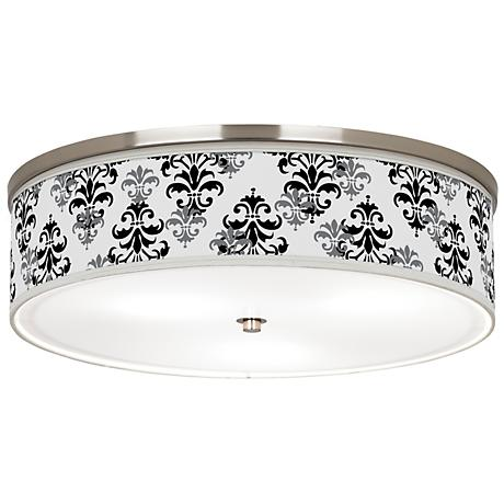 "Damask Shadow Giclee Nickel 20 1/4"" Wide Ceiling Light"