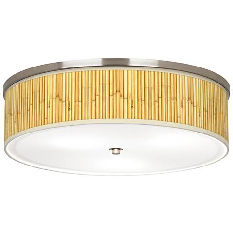 "Bamboo Mat Giclee Nickel 20 1/4"" Wide Ceiling Light"
