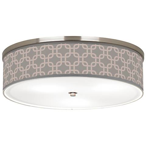 "Smoke Lattice Giclee Nickel 20 1/4"" Wide Ceiling Light"