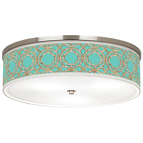 "Teal Bamboo Trellis Giclee Nickel 20 1/4""W Ceiling Light"