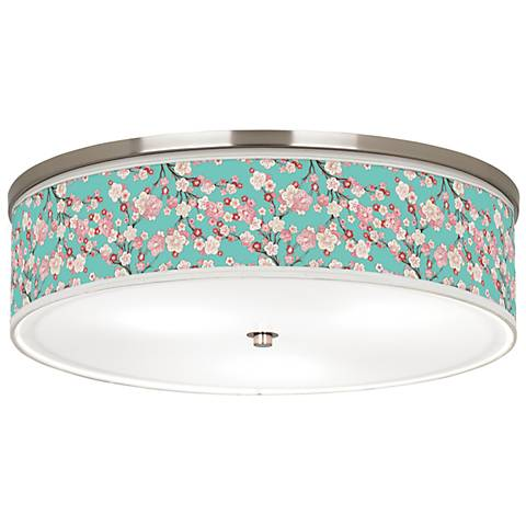"Cherry Blossoms Giclee Nickel 20 1/4"" Wide Ceiling Light"