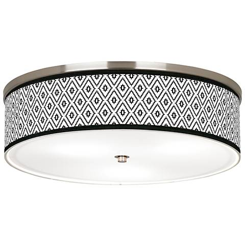 "Black Diamonds Giclee Nickel 20 1/4"" Wide Ceiling Light"