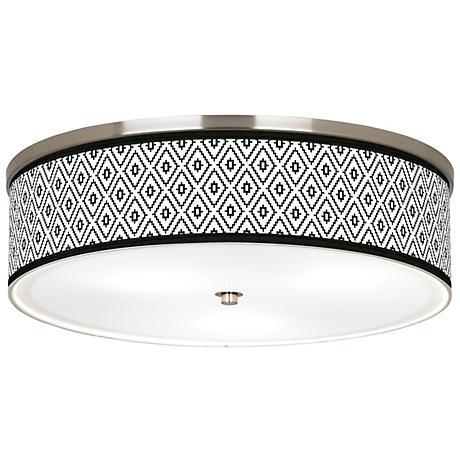 "Black Diamonds Giclee Nickel 20 1/4"" Wide Ceiling Light"