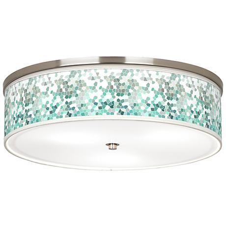 "Aqua Mosaic Giclee Nickel 20 1/4"" Wide Ceiling Light"