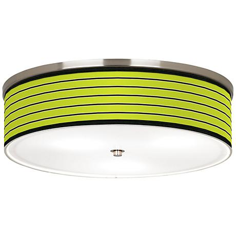 "Bold Lime Green Stripe Nickel 20 1/4"" Wide Ceiling Light"