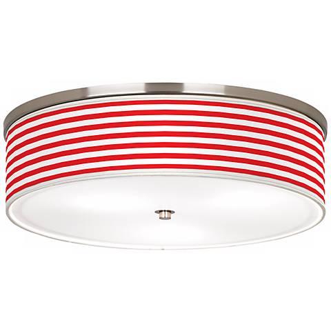 "Red Horizontal Stripe Nickel 20 1/4"" Wide Ceiling Light"