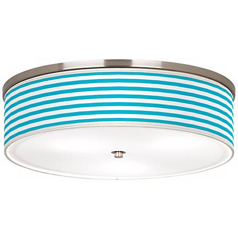 "Aqua Horizontal Stripe Nickel 20 1/4"" Wide Ceiling Light"