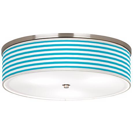 "Aqua Horizontal Stripe Nickel 20 1/4"" Wide Ceiling Light"