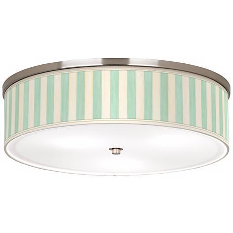 """Seaside Stripe Green Nickel 20 1/4"""" Wide Ceiling Light"""