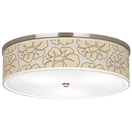 """Floral Silhouette 20 1/4"""" Wide CFL Nickel Ceiling Light"""