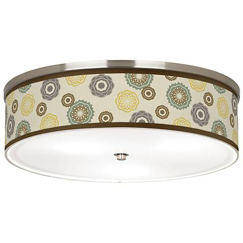 """Ornaments Linen Giclee Nickel 20 1/4"""" Wide CFL Ceiling Light"""