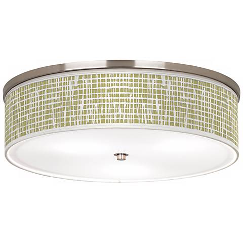 "Ecru Screen Linen Nickel 20 1/4"" Wide Ceiling Light"