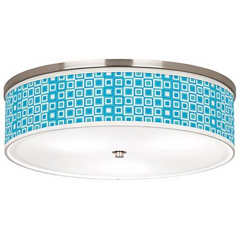 Blue Boxes Linen Giclee Energy Efficient Ceiling Light
