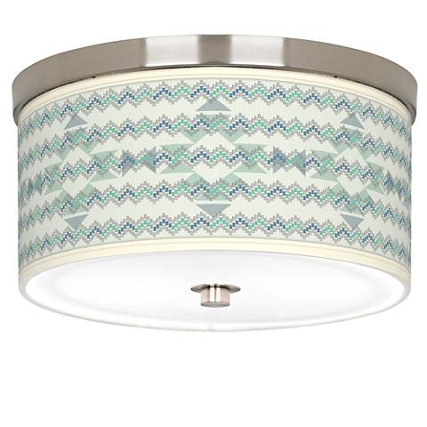 """Triangular Stitch Giclee Nickel 10 1/4"""" Wide Ceiling Light"""