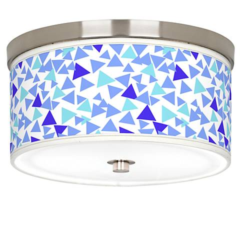 "Geo Confetti Giclee Nickel 10 1/4"" Wide Ceiling Light"